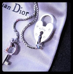 Christian Dior heart lock sterling silver necklace